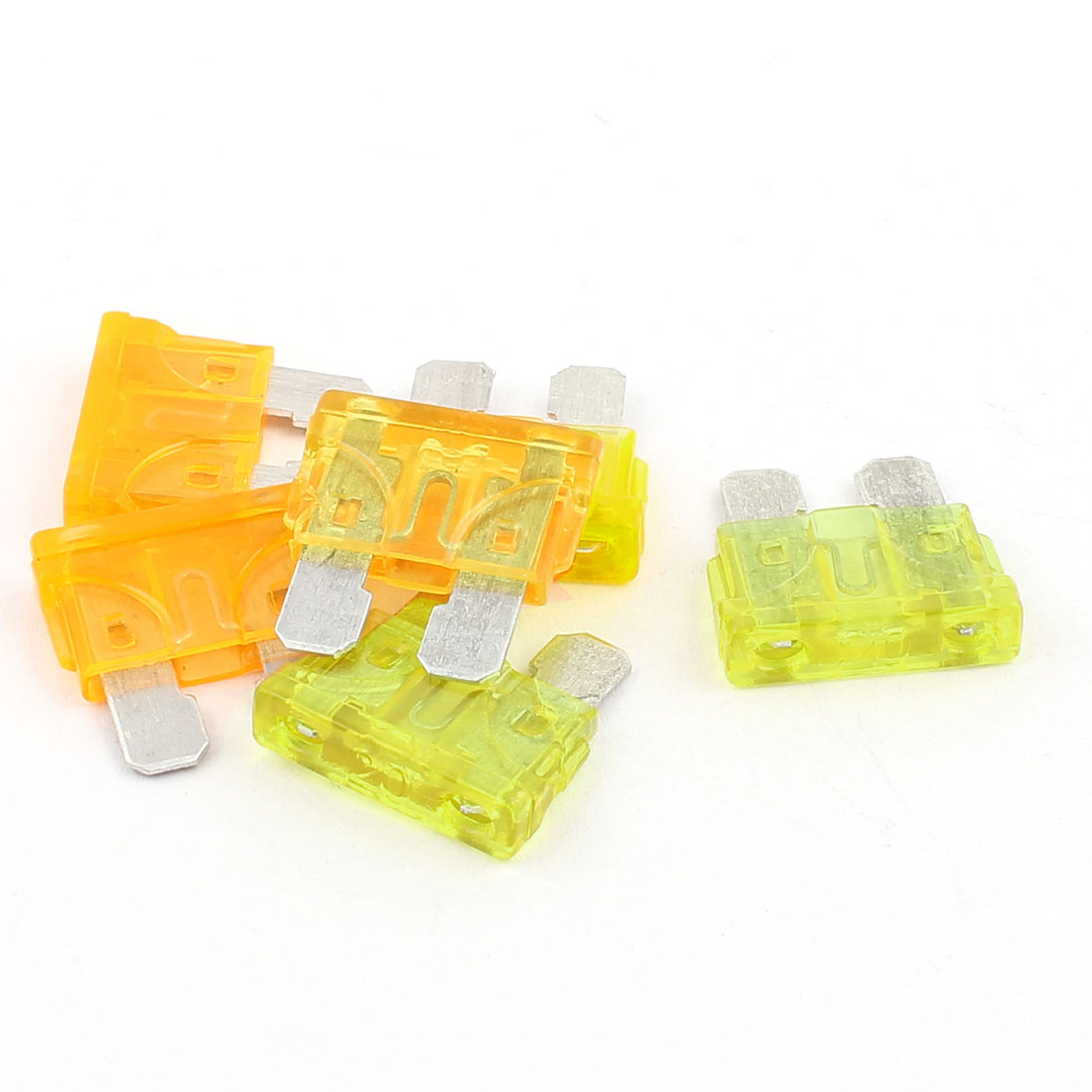 6pcs Yellow Orange 5A 20A Plastic House Mini Blade Fuse for Auto Car Caravan Motorcycle SUV