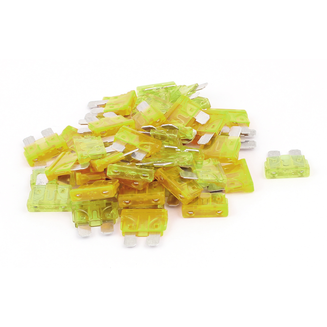 50pcs Auto Motorbike Car Truck Vehicle Boat ATC ATO Mini Blade Fuses 20A 5A Yellow Orange
