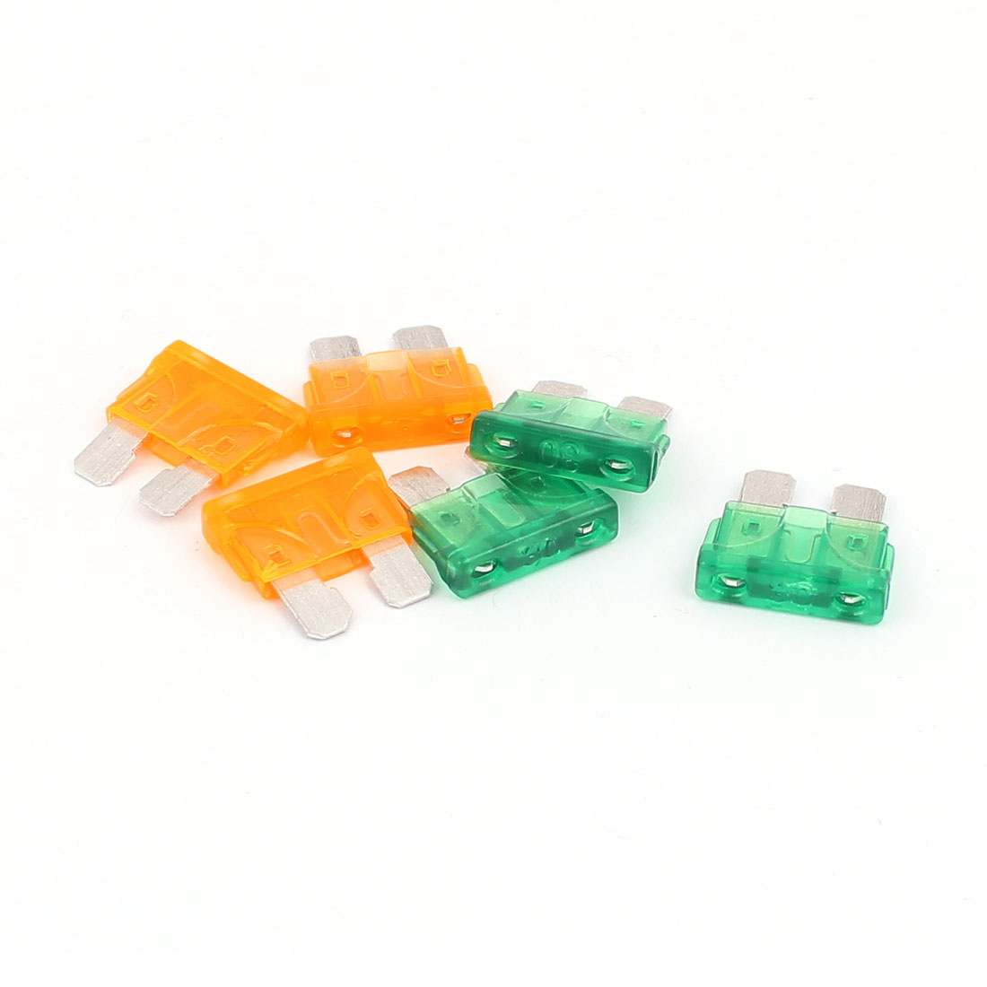 6pcs Motorbike Car Vehicle Caravan SUV Boat ATC ATO Mini Blade Fuses 30A 5A Orange Green