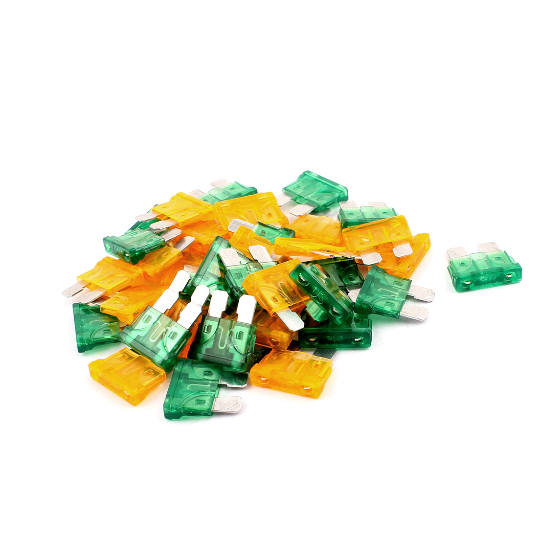 40pcs Orange Green 30A 5A Plastic Casing Mini Blade Fuse for Car Truck Vehicle Motorbike SUV