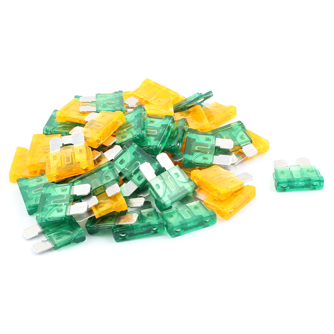 50pcs Motorbike Car Vehicle Truck SUV Boat ATC ATO Mini Blade Fuses 30A 5A Orange Green