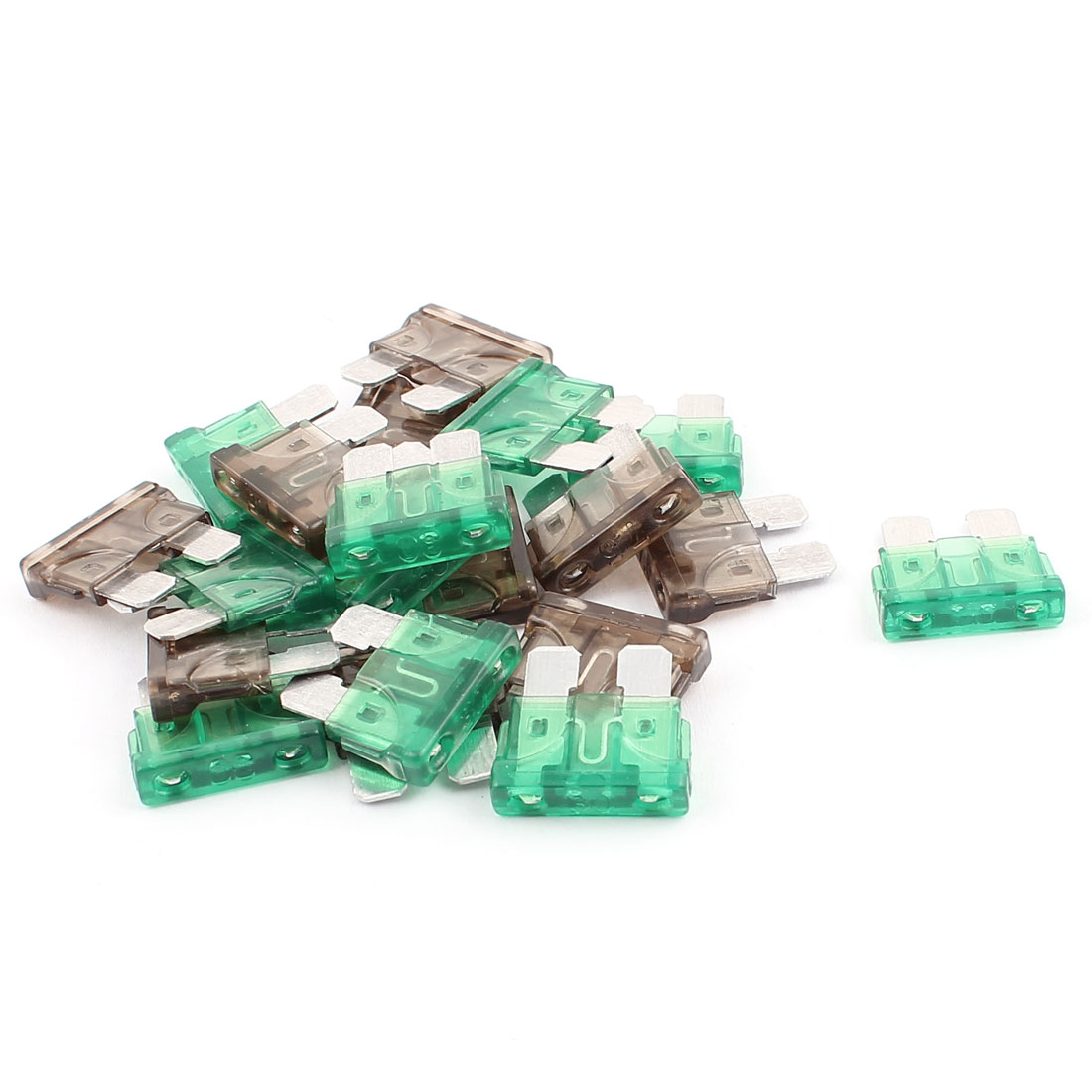 20pcs Green Gray 7.5A 30A Plastic Shell Mini Blade Fuse for Auto Car Caravan Motorcycle SUV