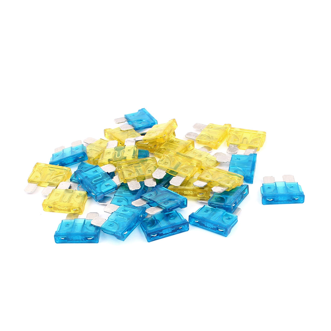 30pcs 15A 20A Auto Car Vehicle Boat Motorcycle ATC ATO Mini Blade Fuse Blue Yellow