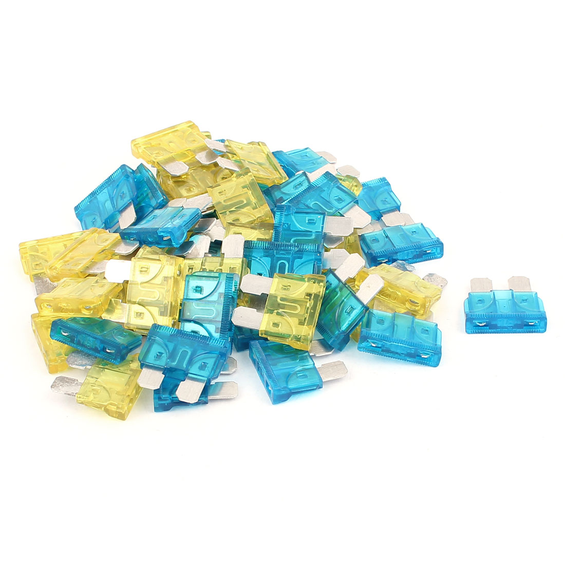 50pcs Automotive Car Caravan Truck Boat ATO ATC Mini Blade Fuses 15A 20A Blue Yellow