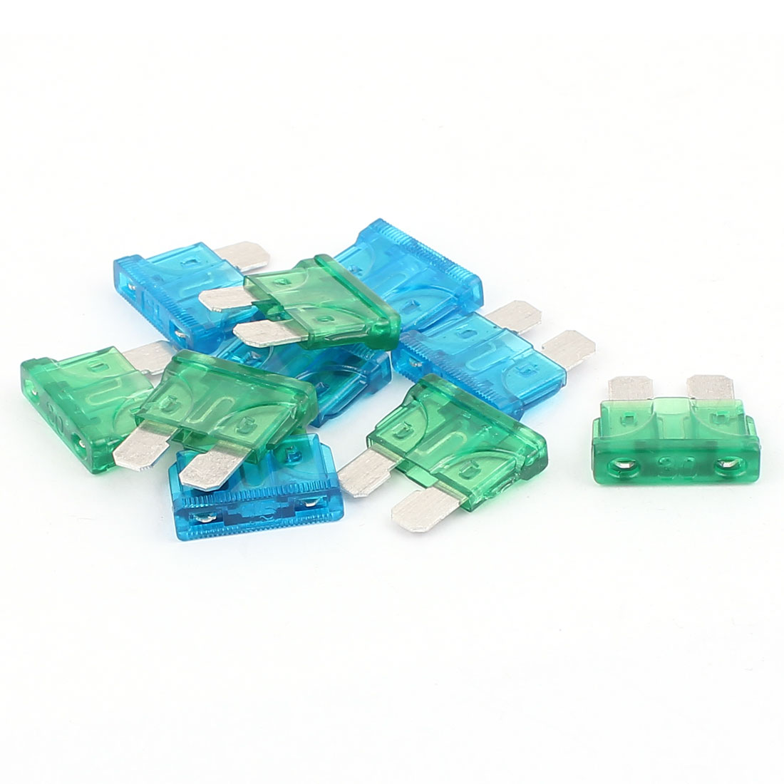 10pcs Automotive Car Vehicle Truck SUV Boat ATC ATO Blade Fuses 15A 30A Blue Green