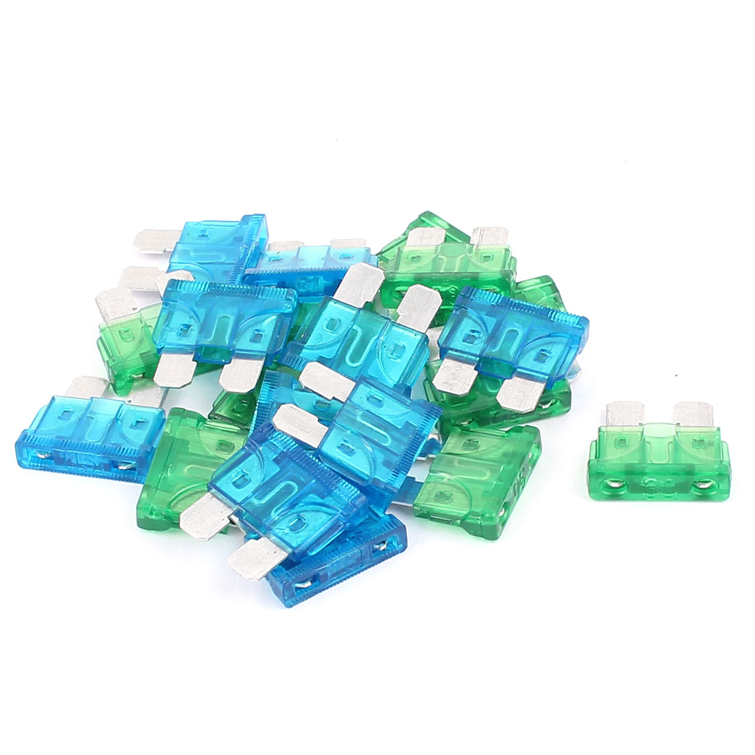 20pcs Motorbike Auto Car Vehicle Truck Boat ATC ATO Mini Blade Fuses 15A 30A Blue Green