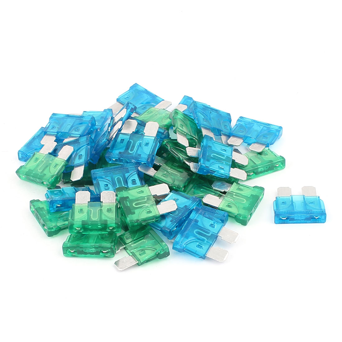 40pcs Blue Green 15A 30A Mini Blade Fuses for Car Caravan Truck Vehicle Motorbike Auto