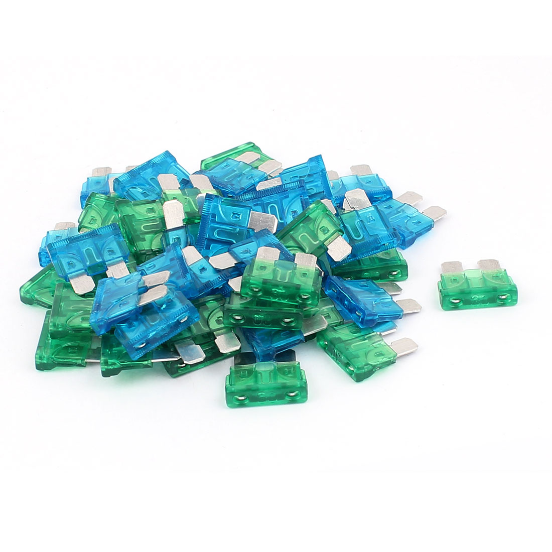 50pcs Caravan Car Vehicle Truck SUV Boat ATC ATO Mini Blade Fuses 15A 30A Blue Green