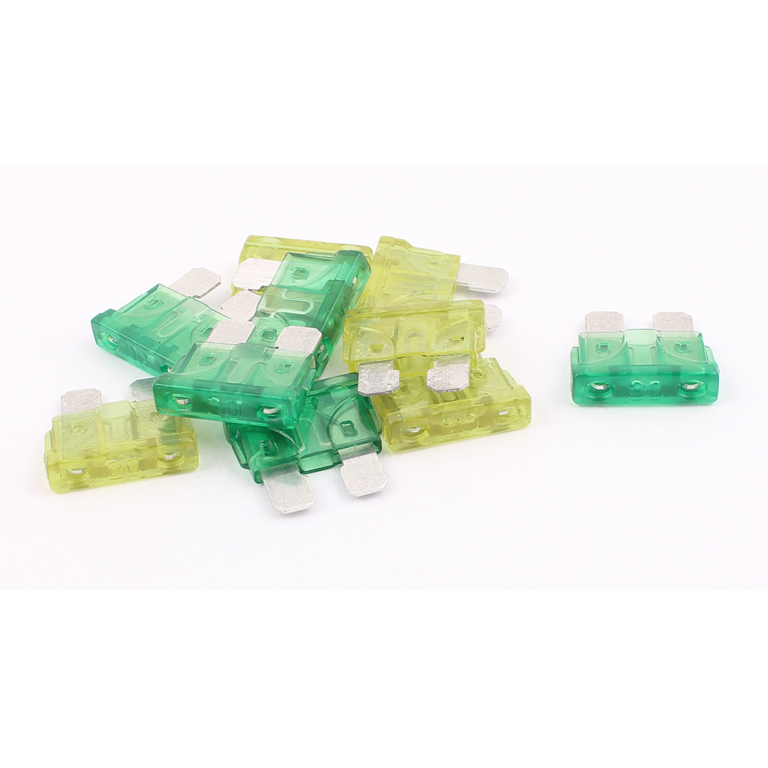 10pcs Motorbike Car Vehicle Caravan SUV Boat ATC ATO Mini Blade Fuses 30A 20A Yellow Green