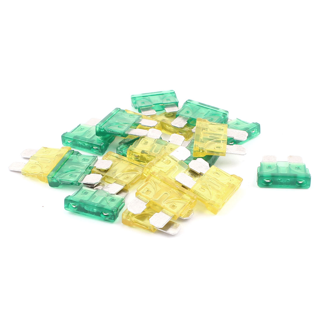 20pcs Yellow Green 30A 20A Plastic Case Mini Blade Fuse for Car Truck Vehicle Motorbike SUV