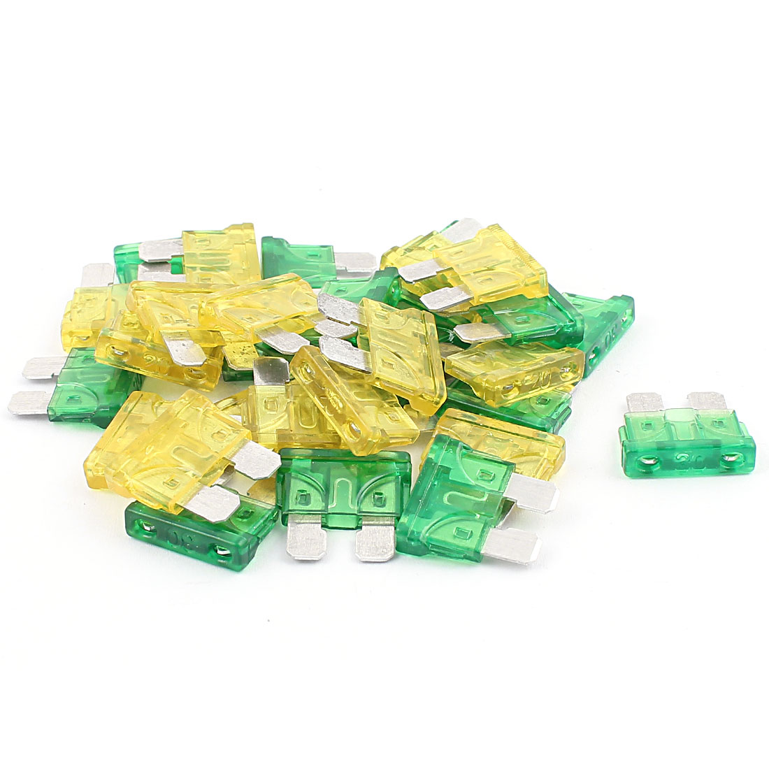 30pcs Yellow Green 30A 20A Plastic Case Mini Blade Fuse for Car Caravan Vehicle Motorbike SUV