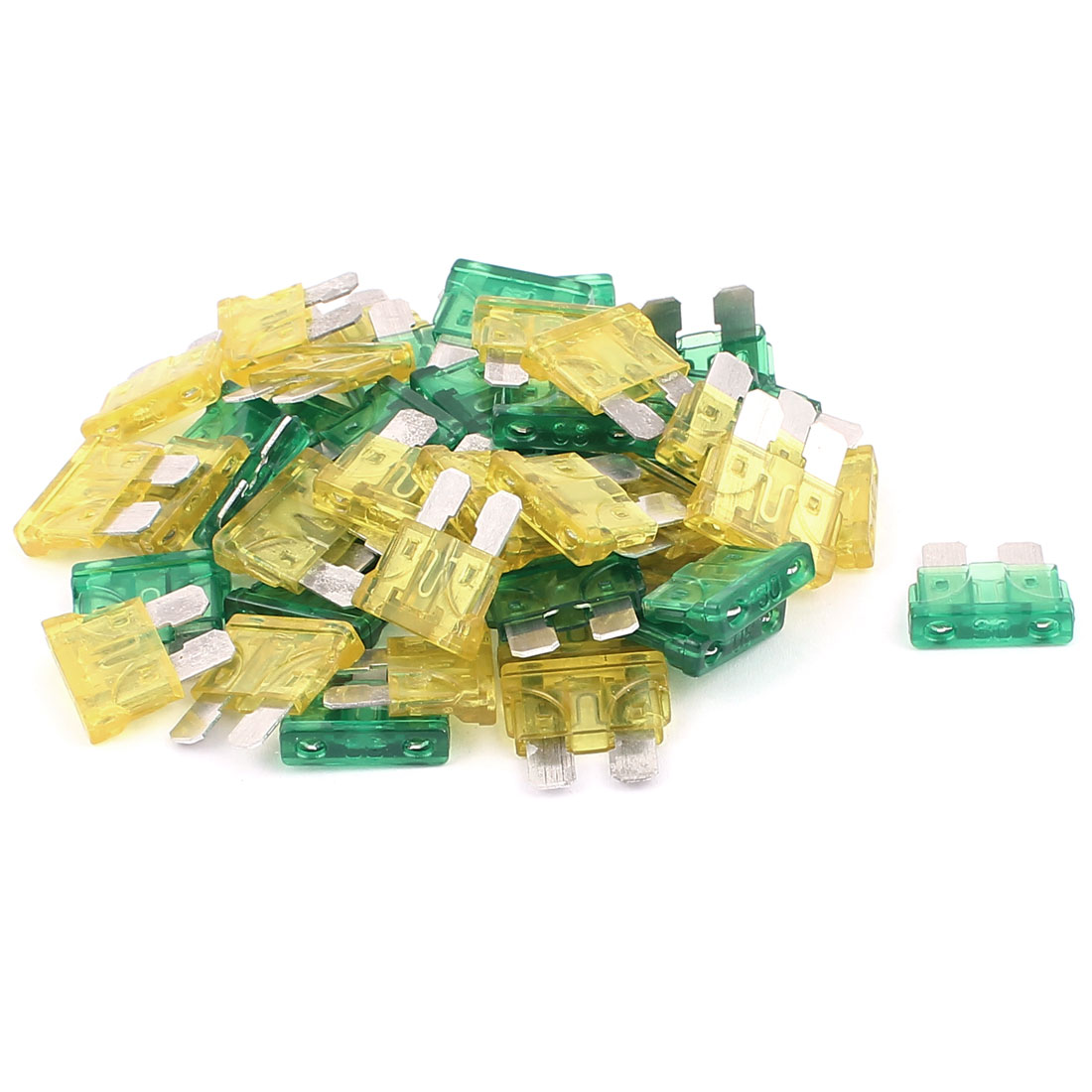 50pcs Motorcycle Car Vehicle Caravan SUV Boat ATC ATO Mini Blade Fuses 30A 20A Yellow Green
