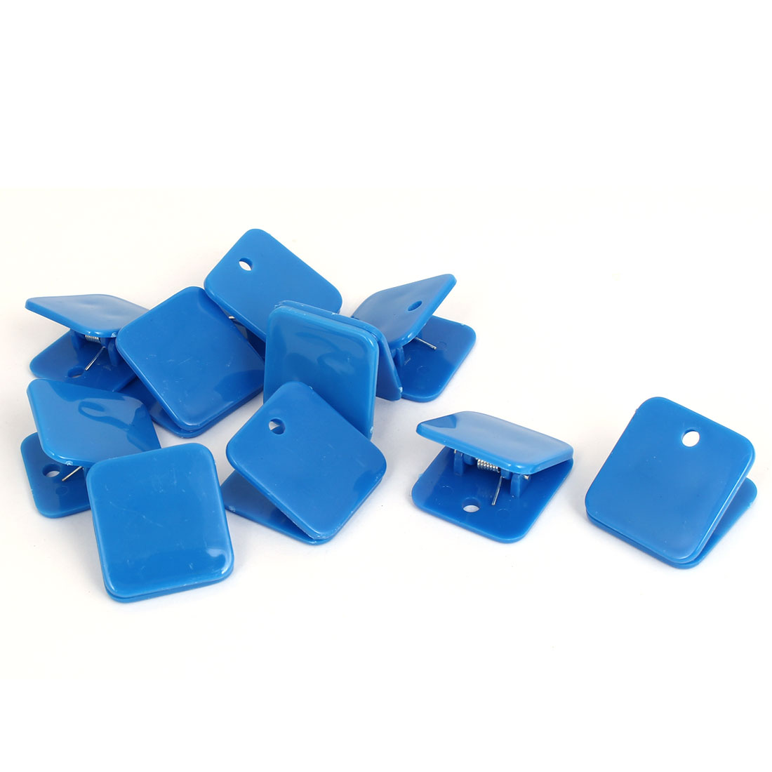 Plastic Square Spring Loaded Paper Document Memo Note Stationery Clip Blue 10Pcs