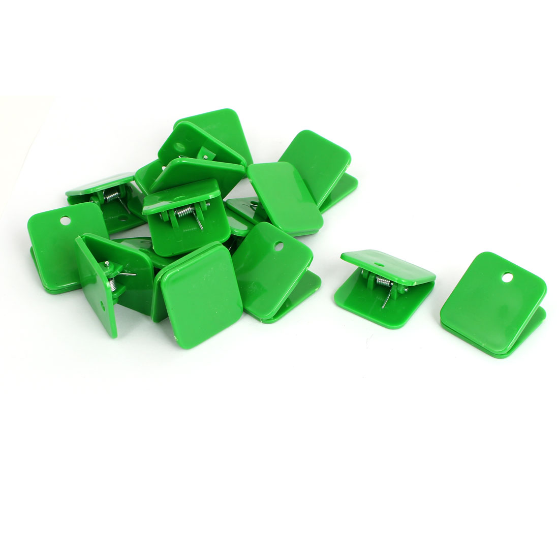 Plastic Square Spring Loaded Paper Document Memo Note Stationery Clip Green 15Pcs