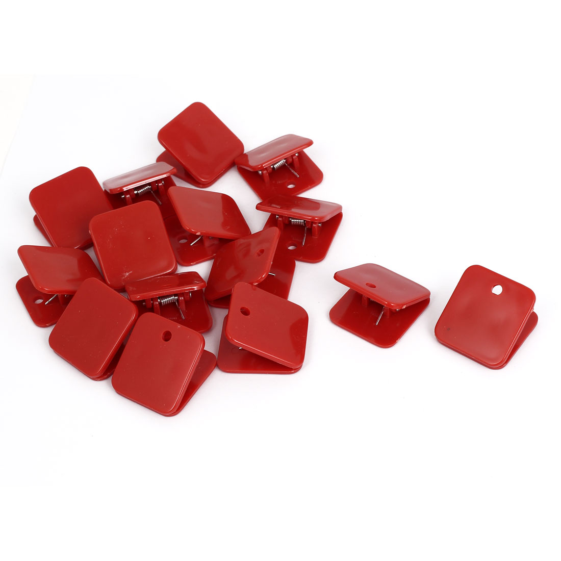 Plastic Square Spring Loaded Paper Document Memo Note Stationery Clip Red 15Pcs