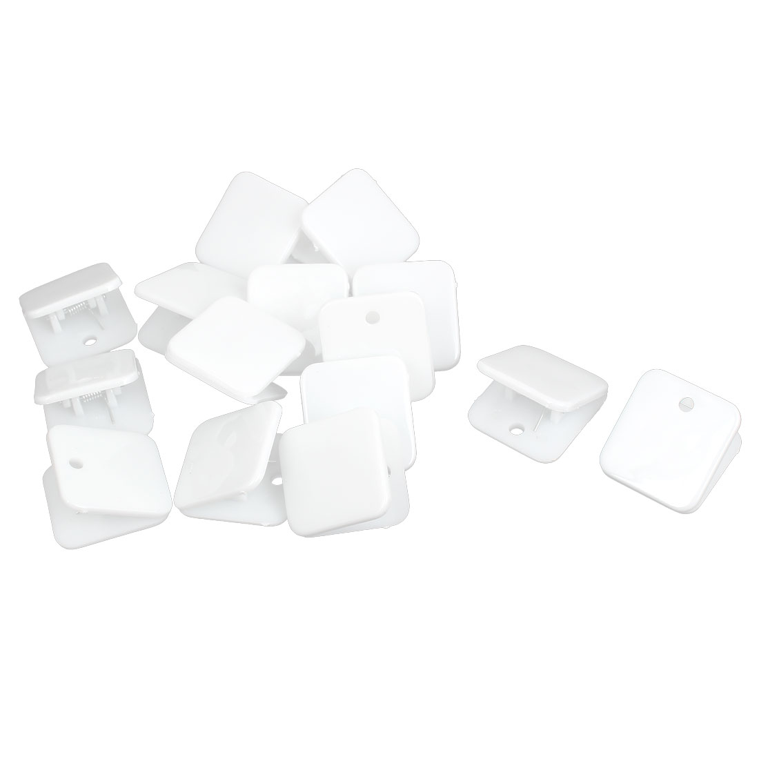 Plastic Square Spring Loaded Paper Document Memo Note Stationery Clip White 15Pcs