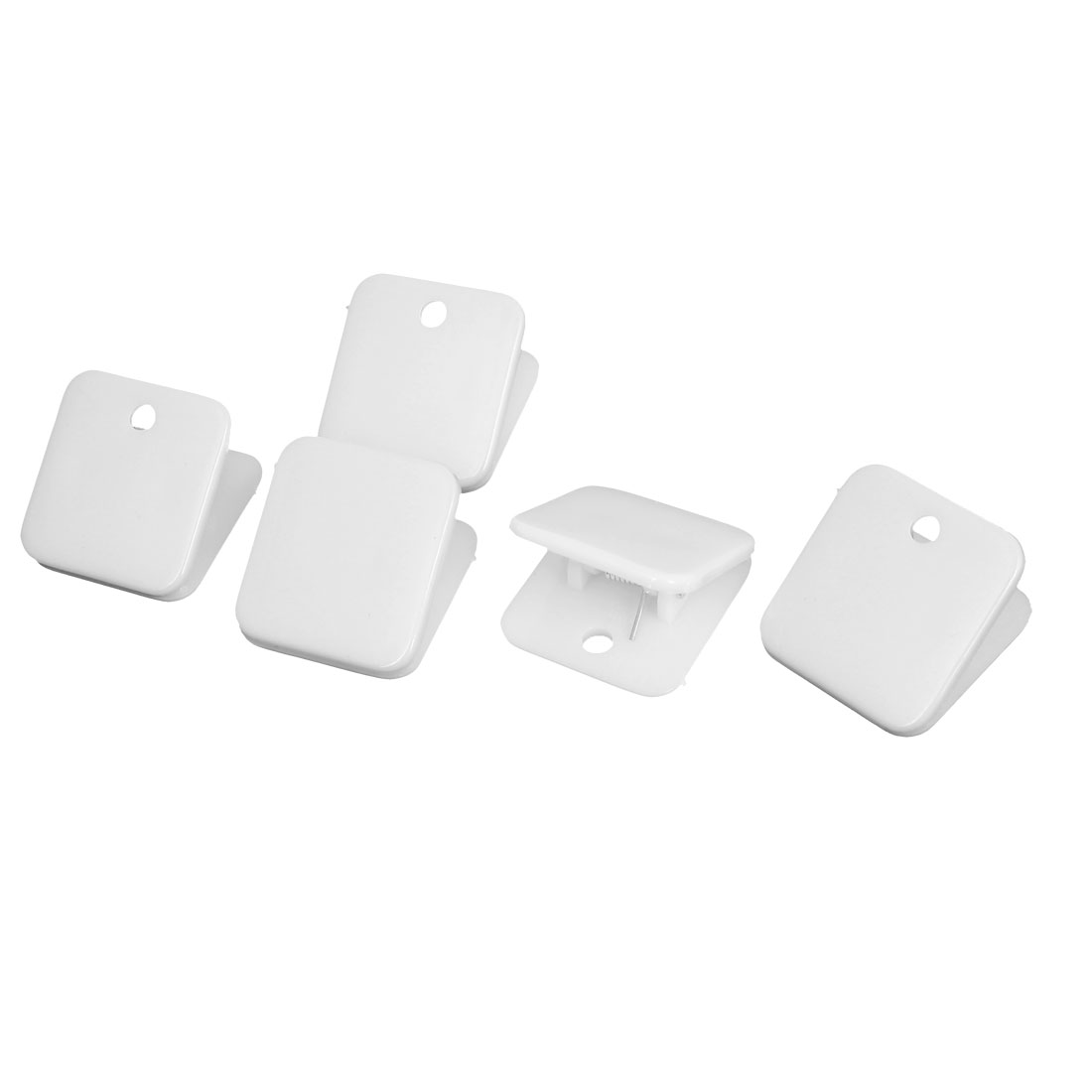 Plastic Square Spring Loaded Paper Document Memo Note Stationery Clip White 5Pcs