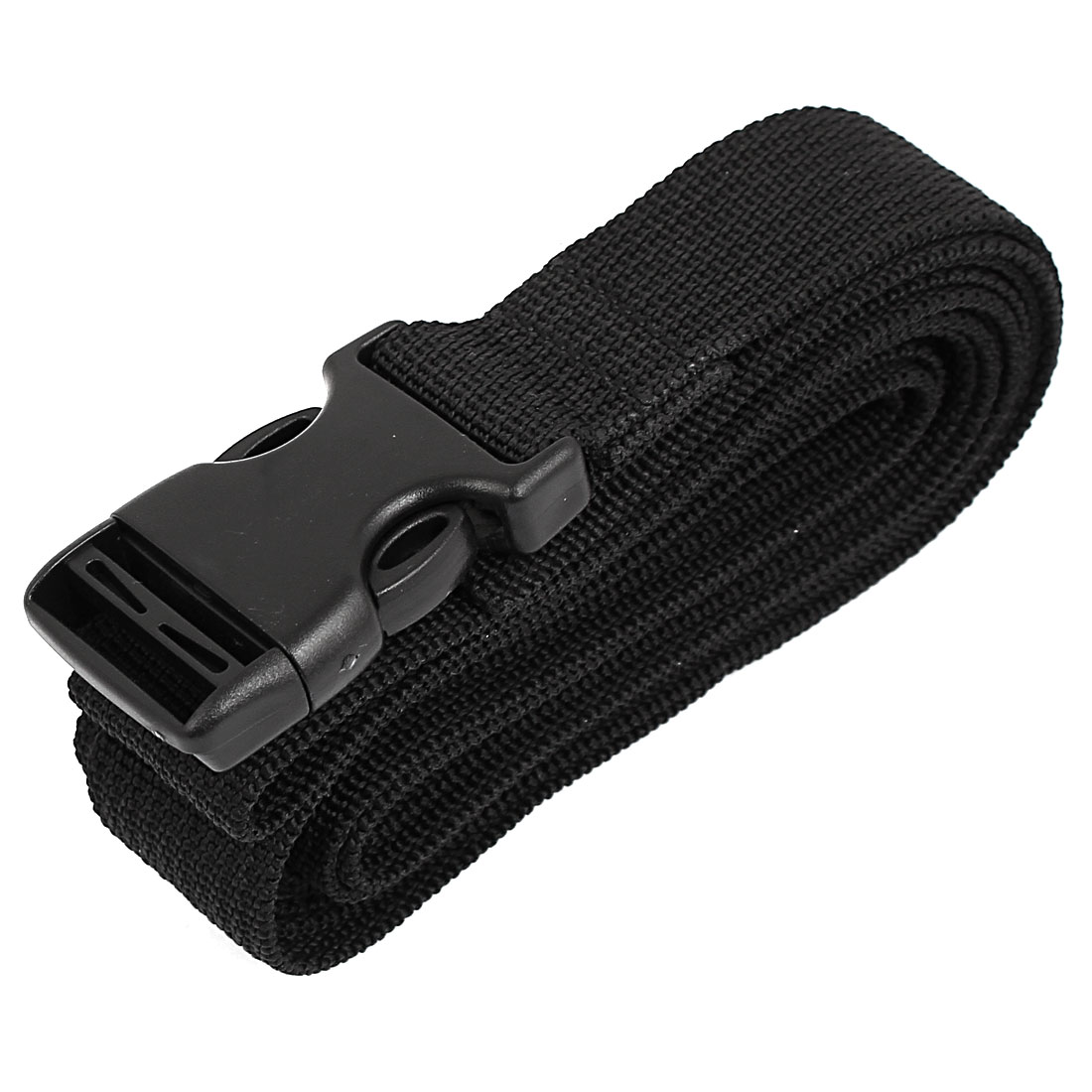 Side Release Buckle Luggage Suitcase Backpack Baggage Adjustable Belt Strap Black 2.5M x 25mm
