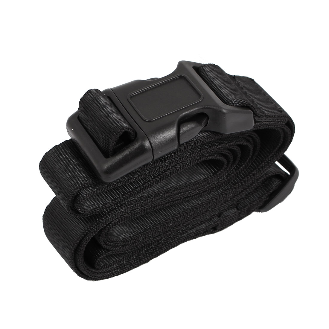 Quick Release Buckle Luggage Suitcase Backpack Baggage Adjustable Belt Strap Black 2M x 25mm