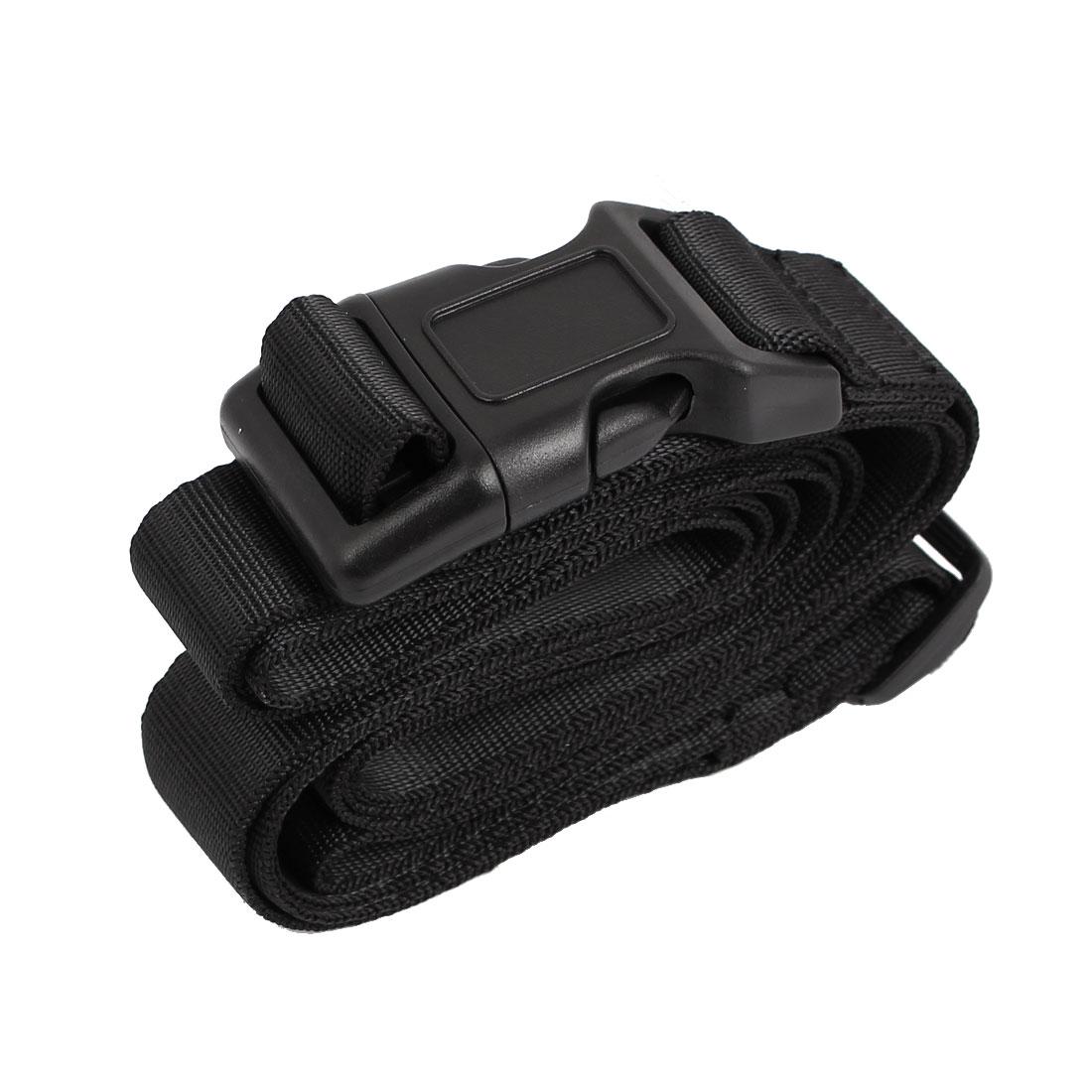 Quick Release Buckle Luggage Suitcase Backpack Baggage Adjustable Belt Strap Black 2M x 25mm