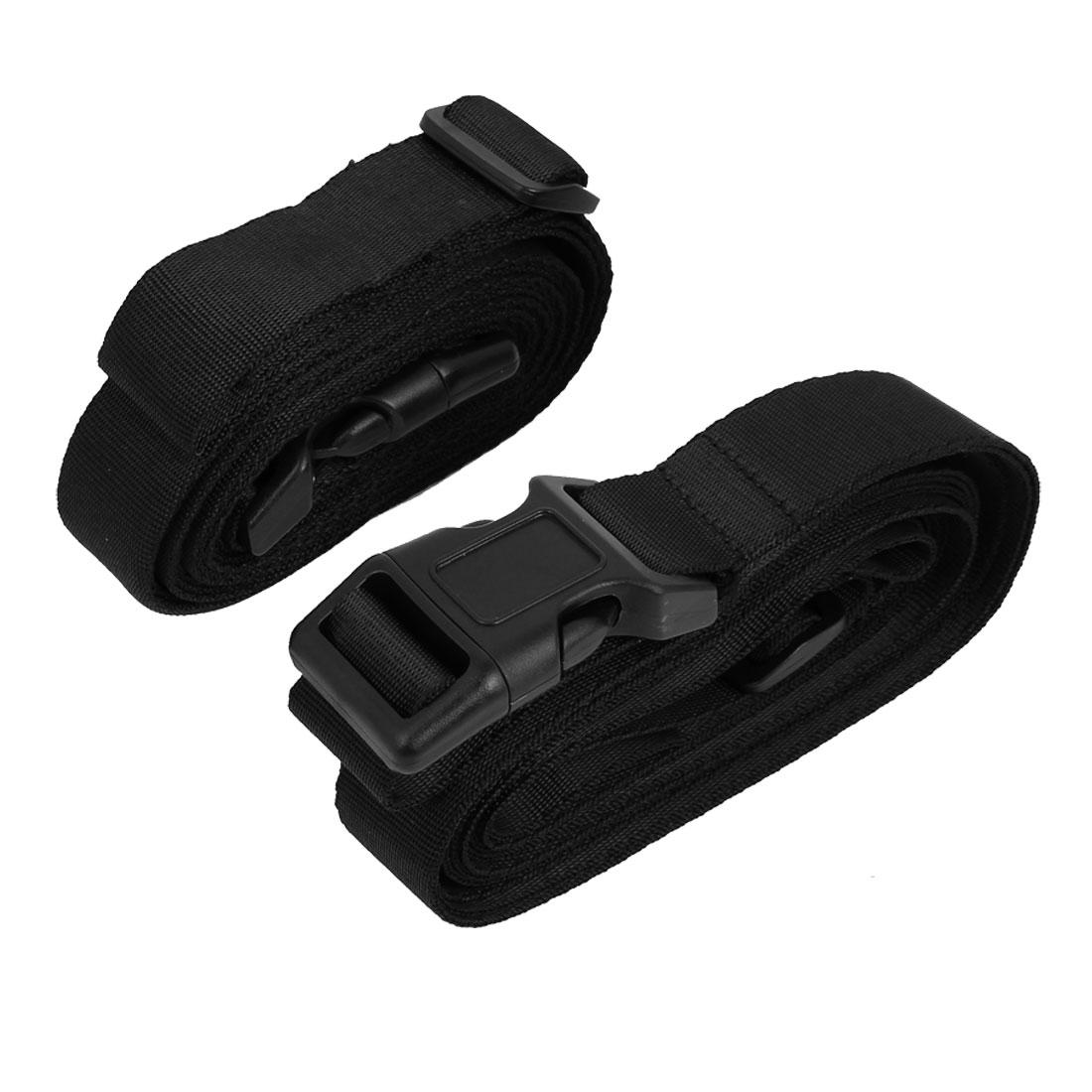 Quick Release Buckle Luggage Suitcase Backpack Baggage Adjustable Belt Strap Black 2Pcs
