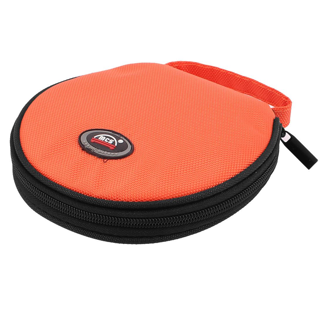 Nylon Zipper Closure 20 Pieces Capacity Auto Car CD DVD Case Bag Holder Orange
