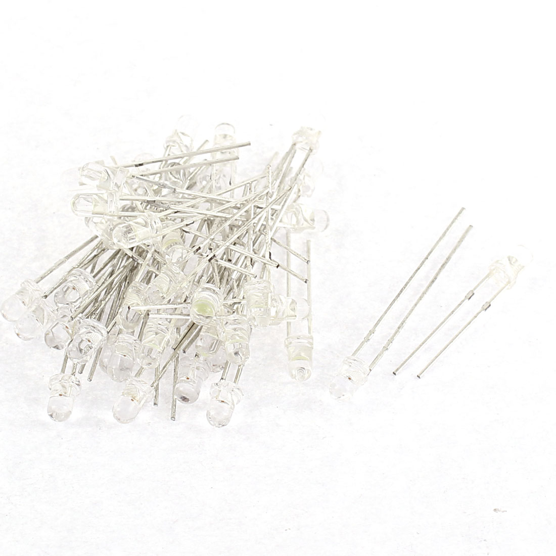 40pcs 3mm Green White Light Diffused Emitting Diode LEDs Bulds