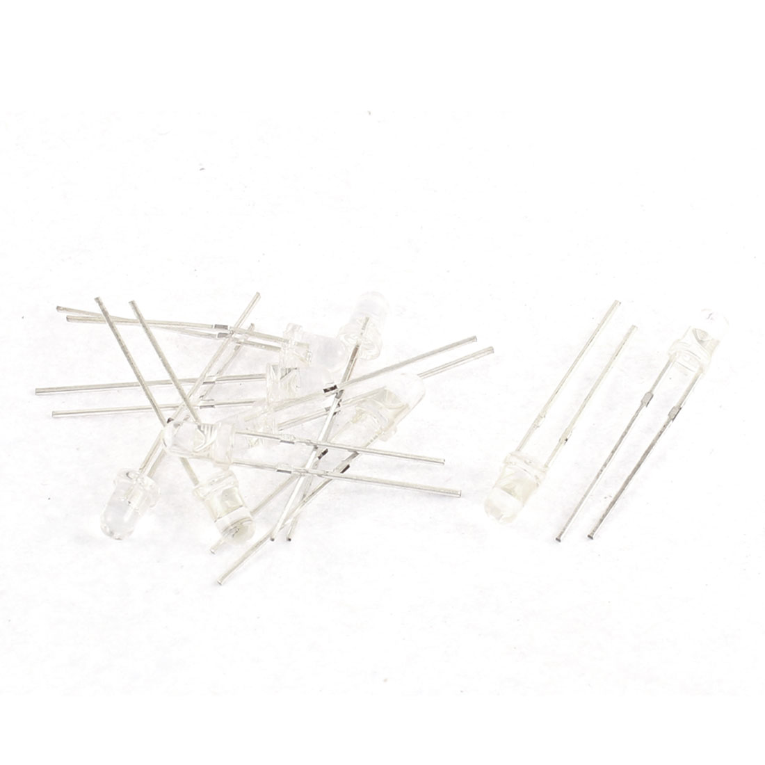 10pcs 3mm 2 Terminals White Yellow Light Emitting Diode DIY LEDs Bulds