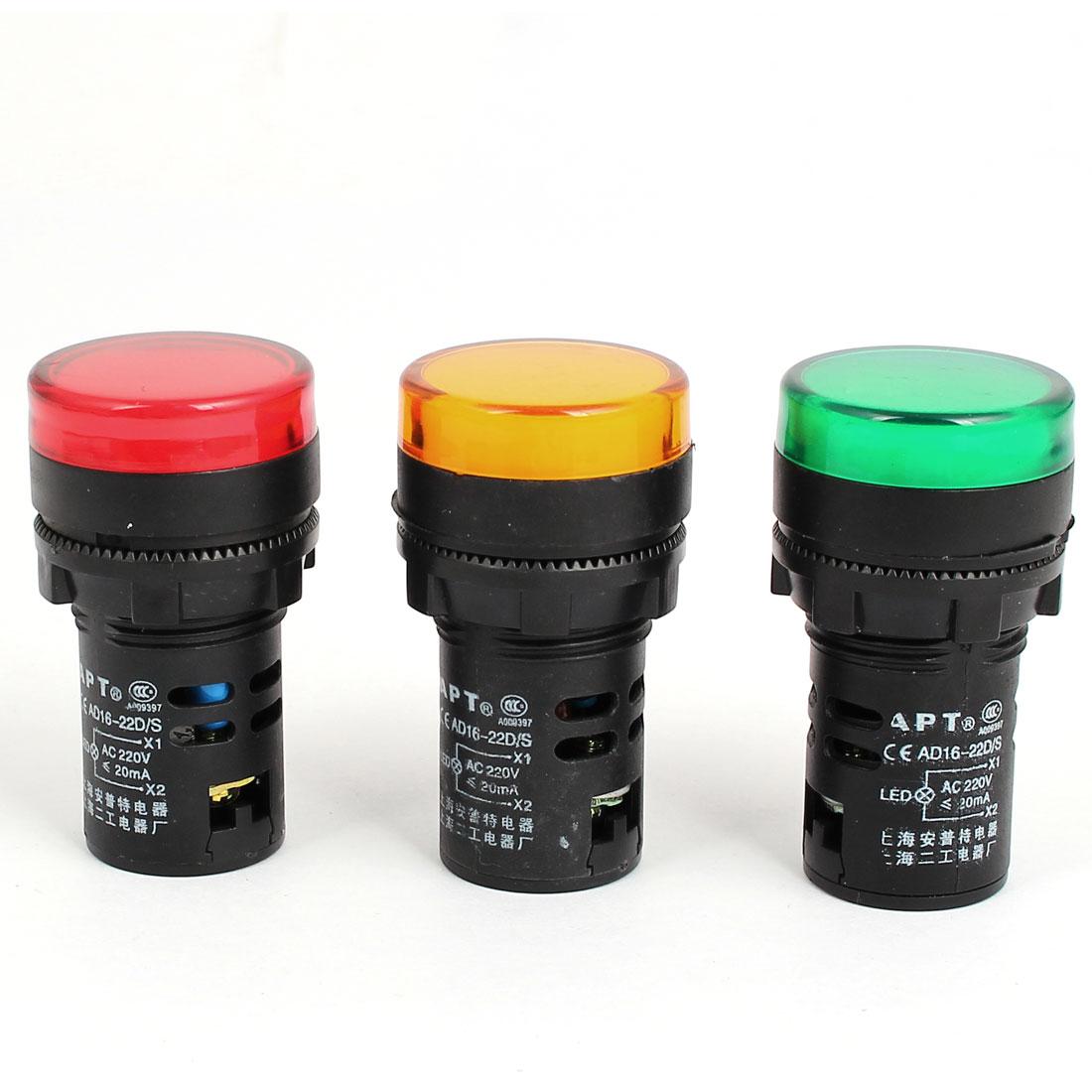 AD16-22D/S AC 220V 20mA Green Yellow Red LED Indicator Pilot Signal Light Lamp 3Pcs