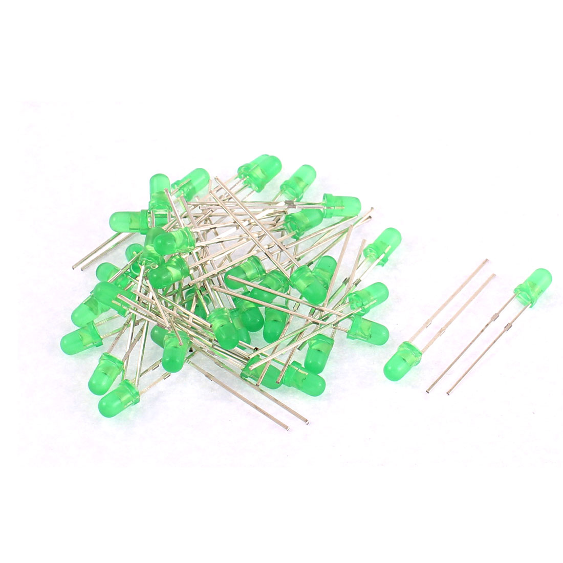 40pcs 3mm Round Green Led Indicator Light-emitting Diode Lamp Bulbs