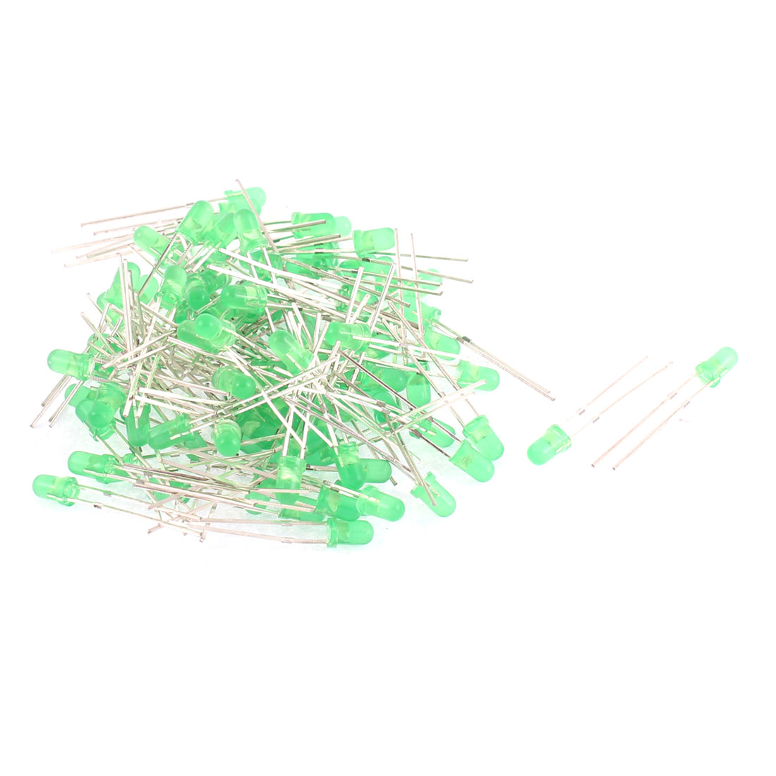 100pcs 3mm Round Head Green Light Emitting Diodes LEDs Indicator Lamp
