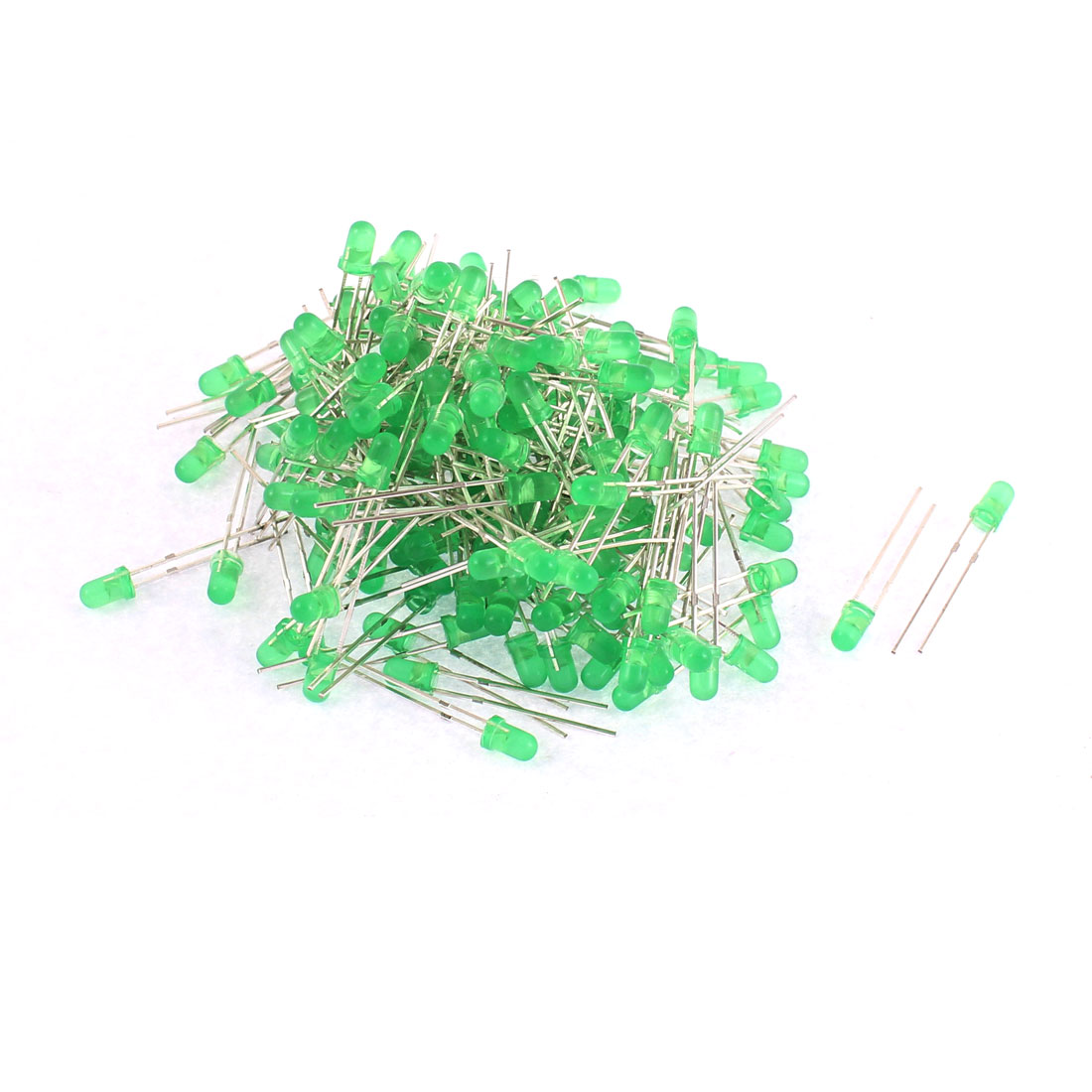 200pcs 25 x 4mm 2 Terminals Green Light Emitting Diode LEDs Lamp Bulb