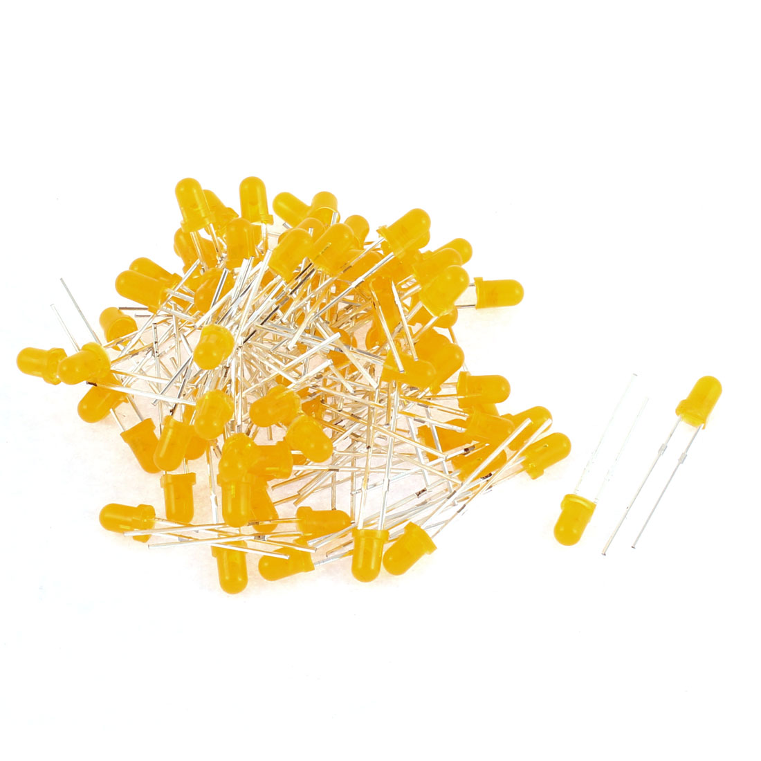 75pcs 3mm Head Yellow Diffused Color Lens LED Emitting Diode Bulb Beads