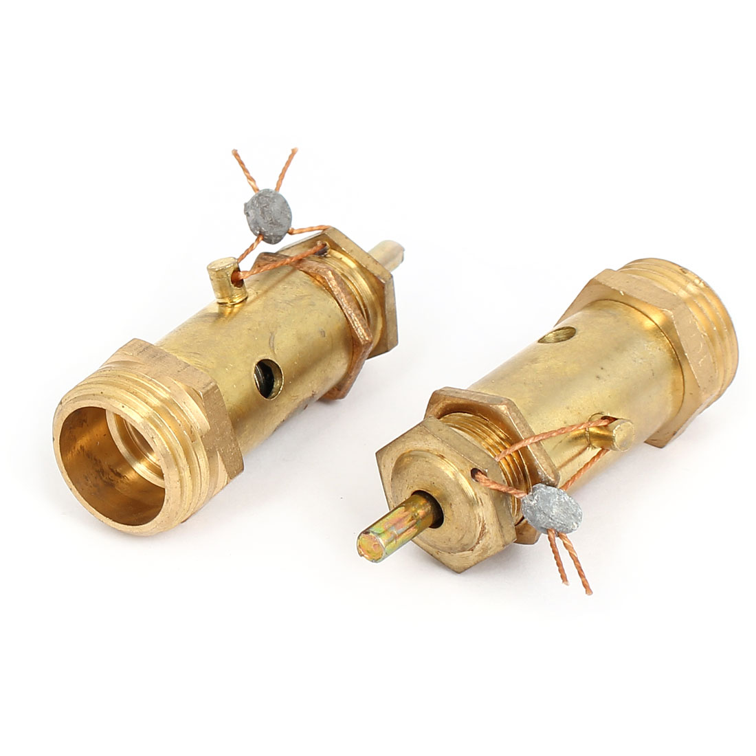 21mm Male Thread Air Compressor Safety Relief Pressure Valve Gold Tone 2Pcs