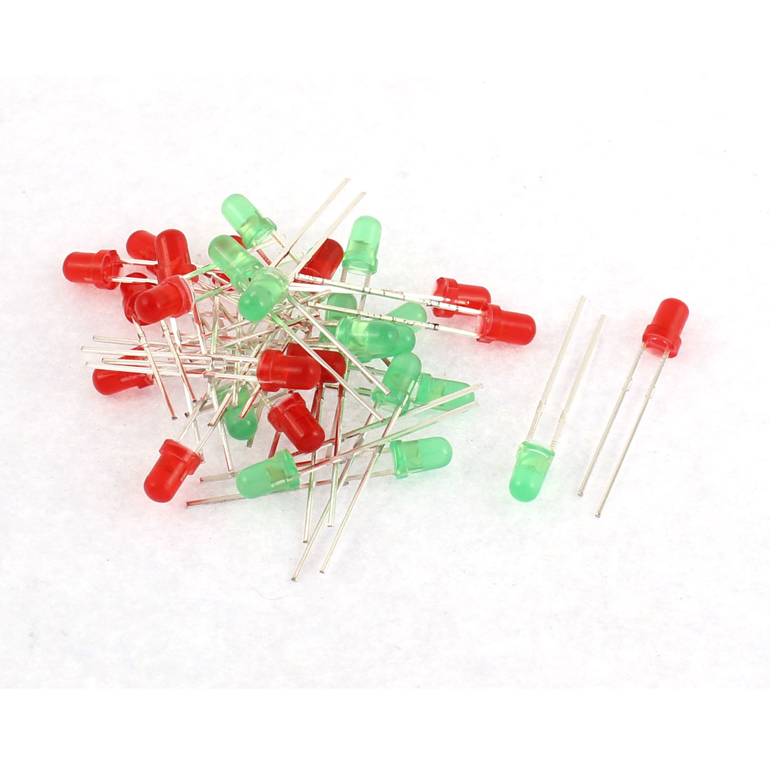 30pcs 3mm Red Green Light Color Emitting Diode Emitter LEDs DIY Bulbs