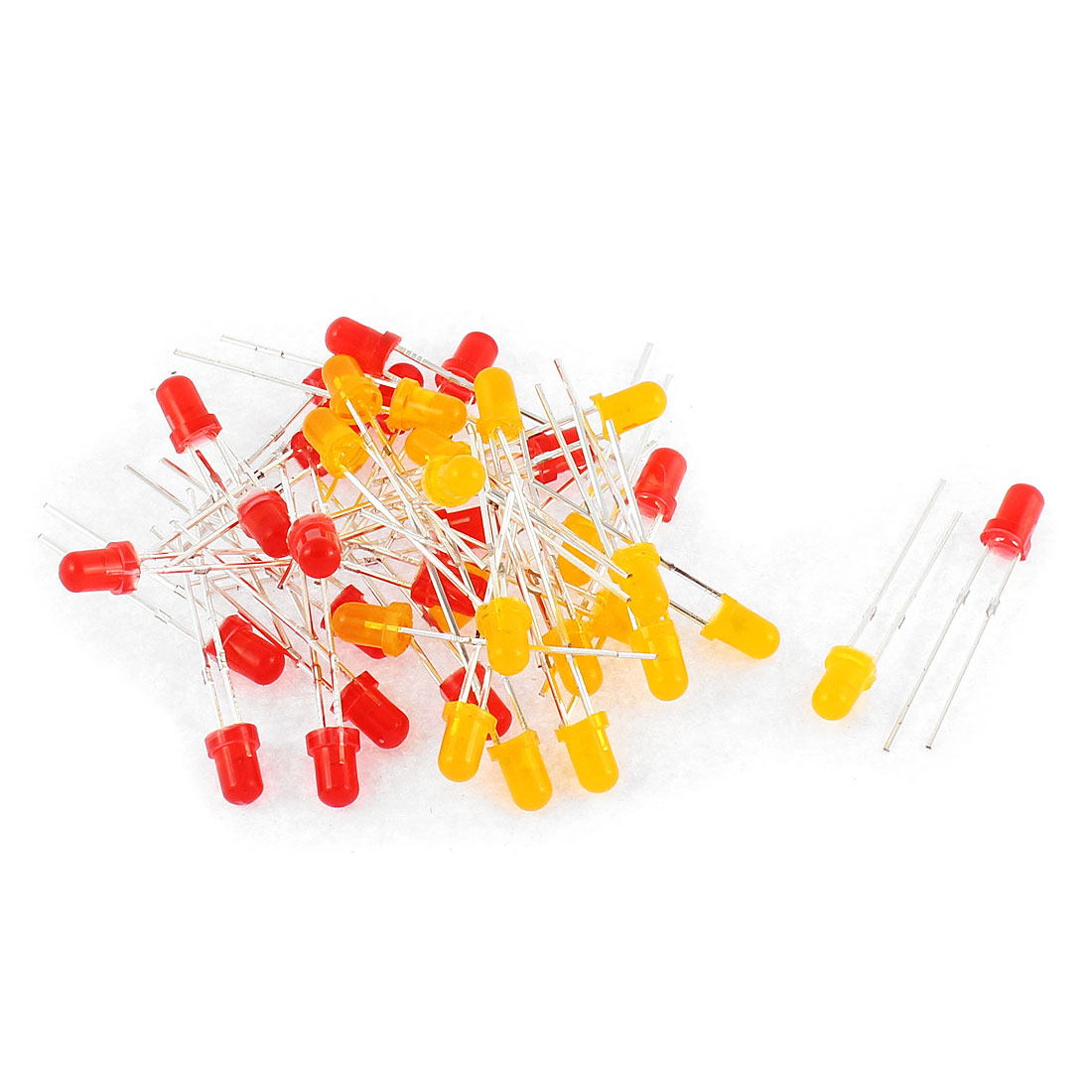 40pcs 3mm Round Head Red Yellow LED Light Emitting Diode Bulb Lamps