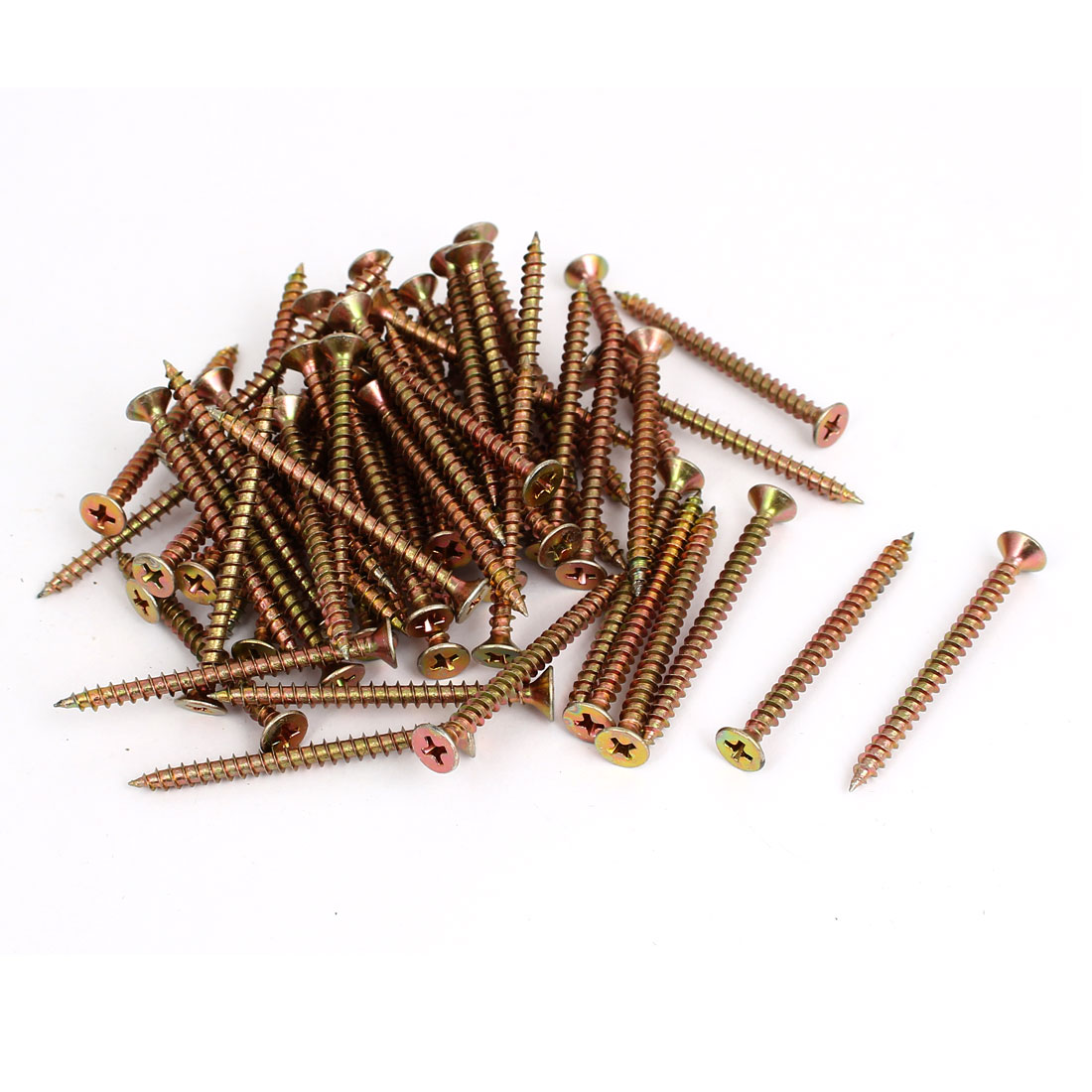 M4 Thread Phillips Flat Head Metal Self Tapping Wood Screw Bronze Tone 60pcs