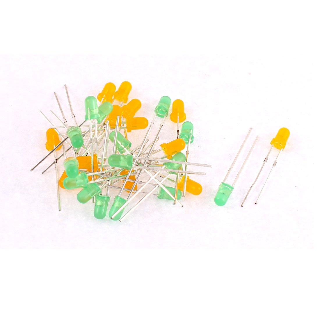30pcs 3mm Green Yellow Diffused Color Emitting Diode LED Light Bulds