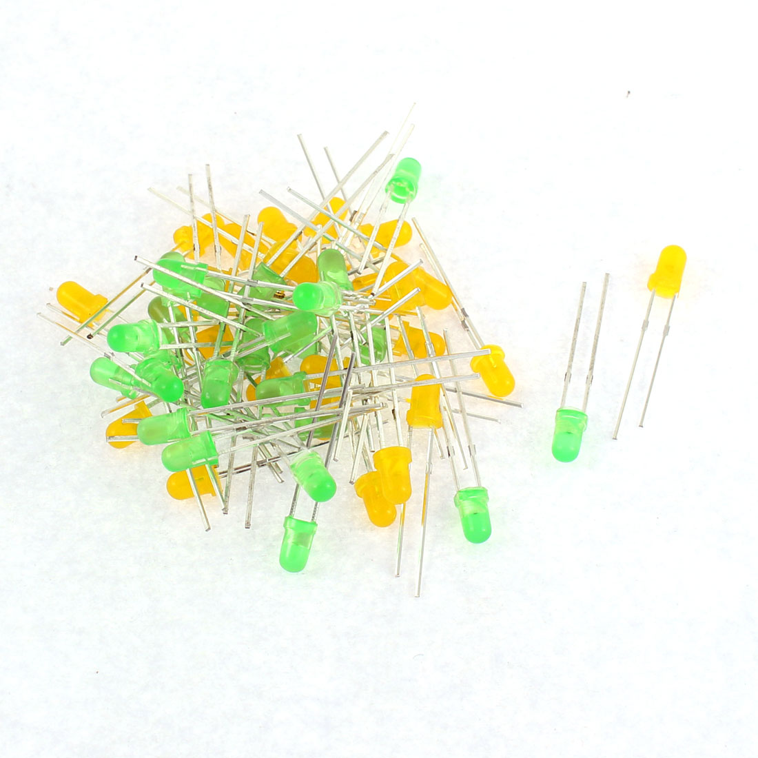 50pcs 3mm Round Top 2 Terminal Green Yellow LED Diffused Emitting Diodes Lights
