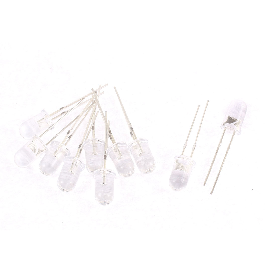 10pcs 2 Terminals Emitting Diode Emittor LEDs Bulds White Light