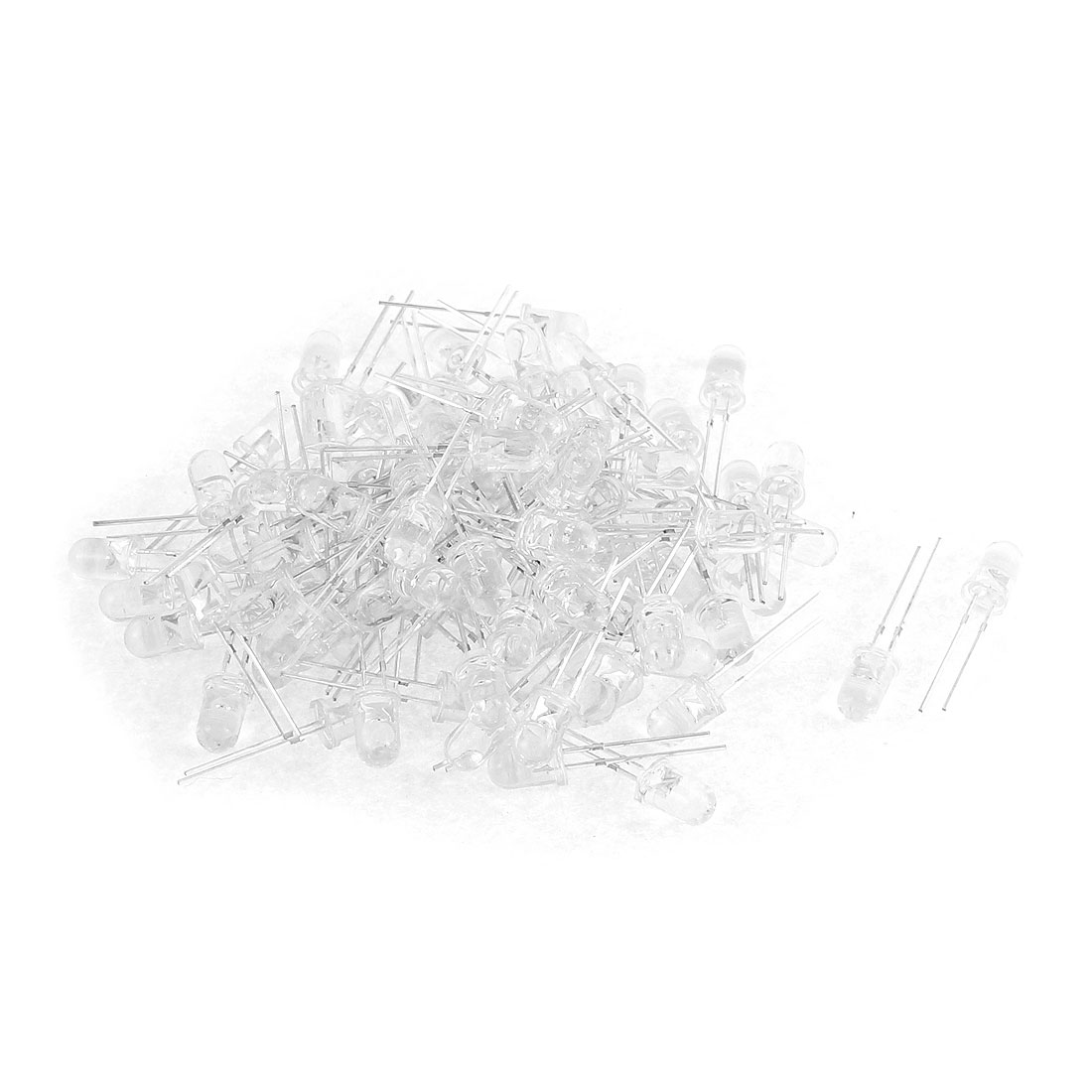 100pcs 5mm White Light Round LED Bulb Emitting Diode DIY Component