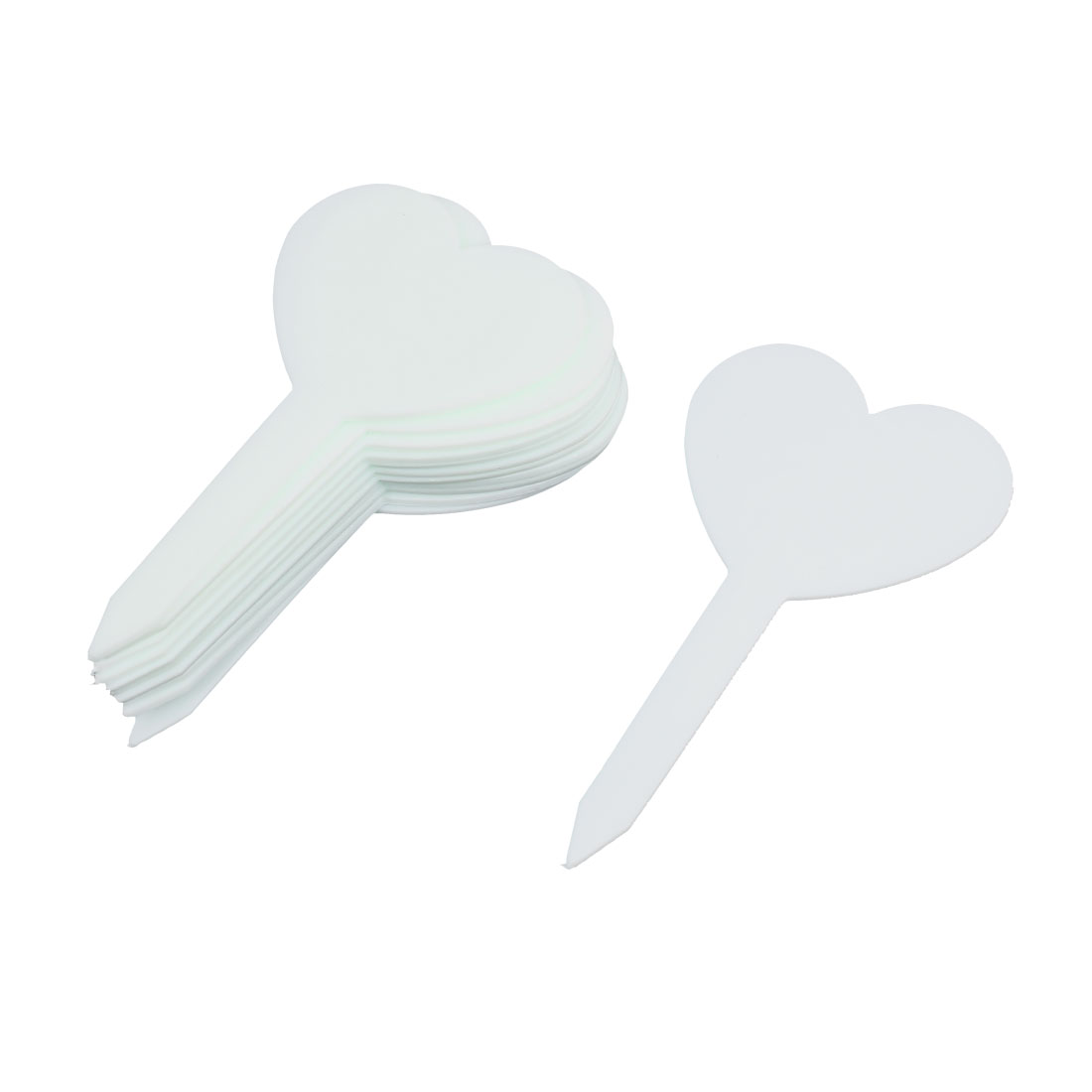 Plastic Heart Shape Nursery Garden Plant Seed Tag Label Marker Stick White 12Pcs