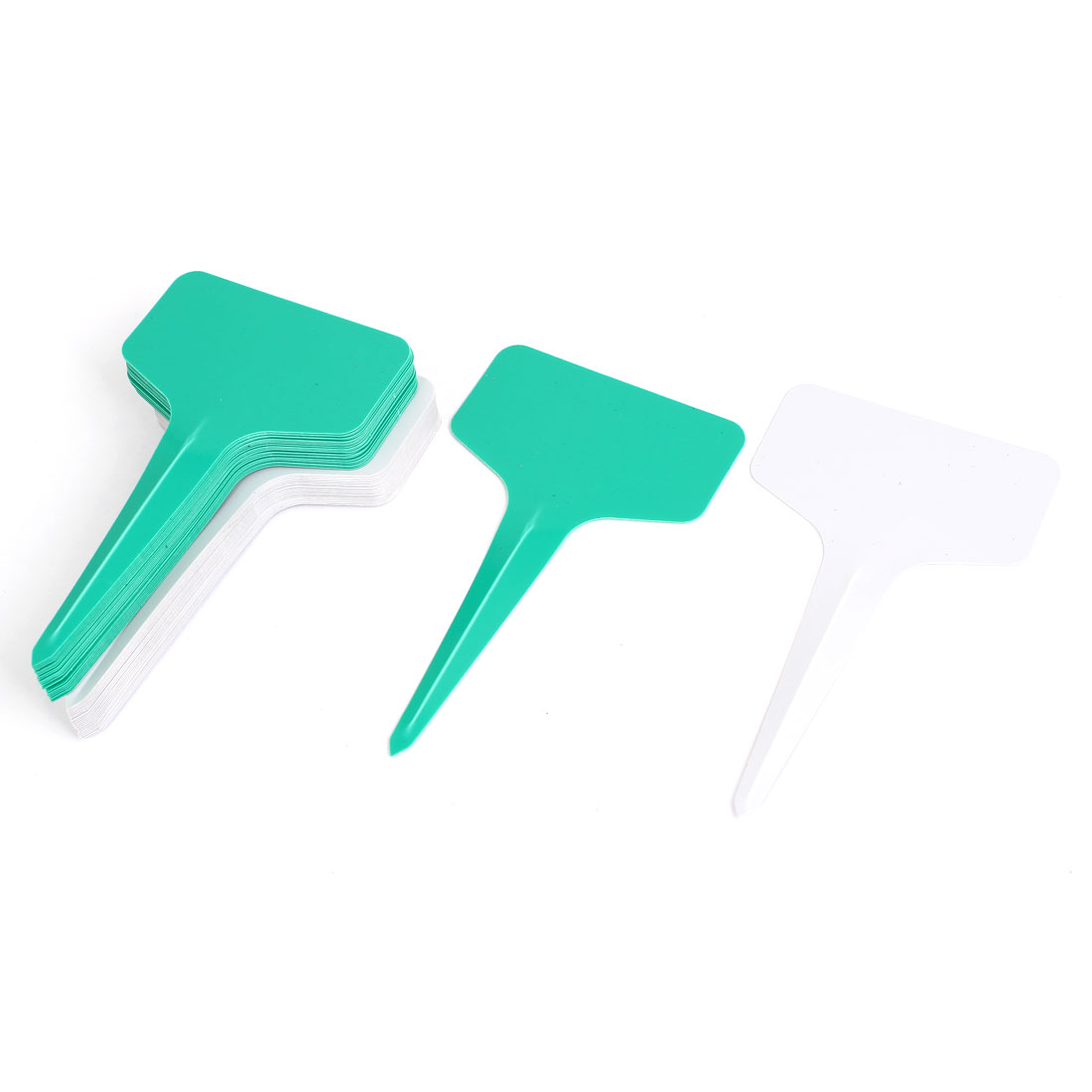 Plastic T Type Nursery Garden Plant Seed Tag Label Marker Stick Green White 50Pcs