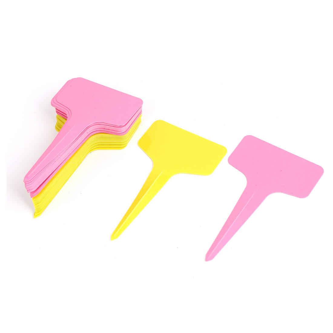 Plastic T Type Nursery Garden Plant Seed Tag Label Marker Stick Yellow Pink 50Pcs