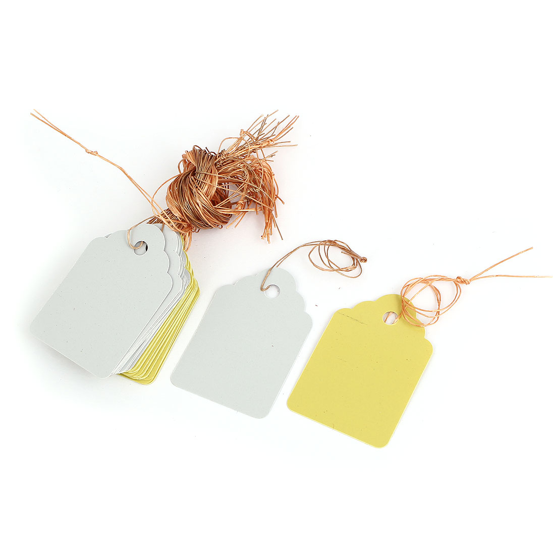 45mm x 30mm Plastic Nursery Garden Plant Seed Hanging Tag Label Marker Yellow White 36Pcs