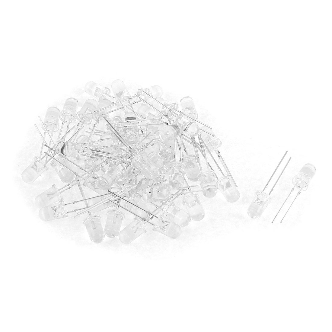 50pcs 5mm White Green Round LED Light Emitting Diode Bulbs