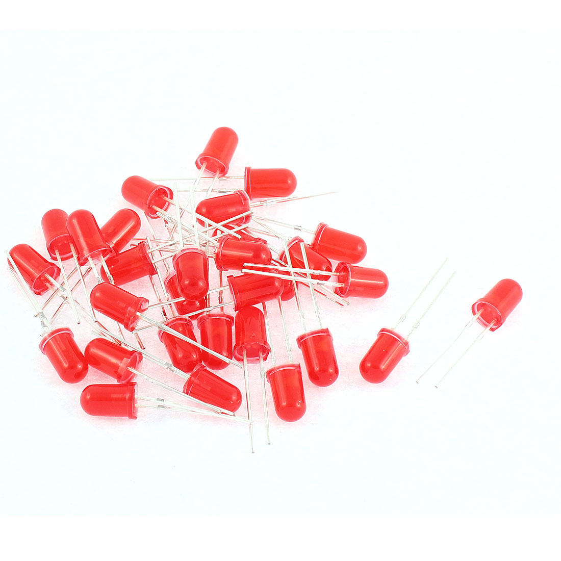 30pcs 5mm Red Color Round Light Emitting Diodes LEDs Bulb Component