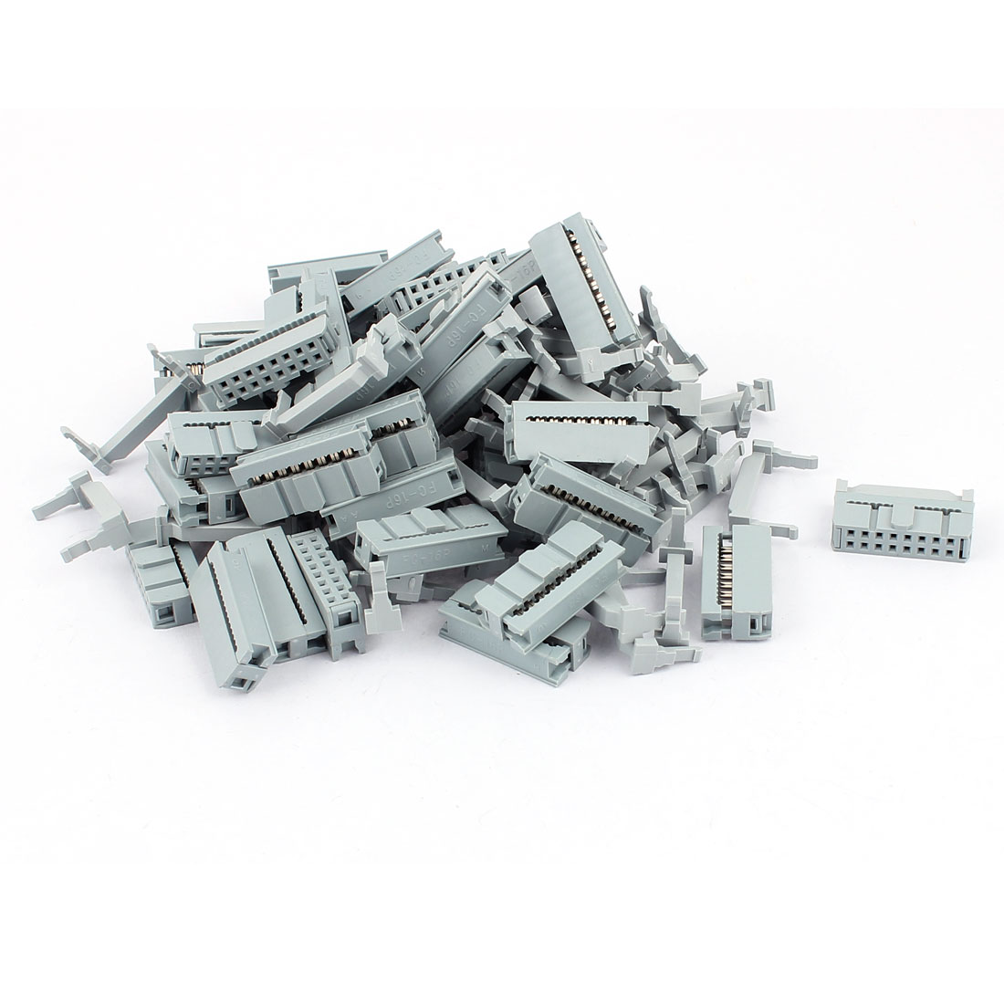 50 Pcs 2 Rows 16P FC-16P Flat Cable IDC Socket Connector w Strain Relief