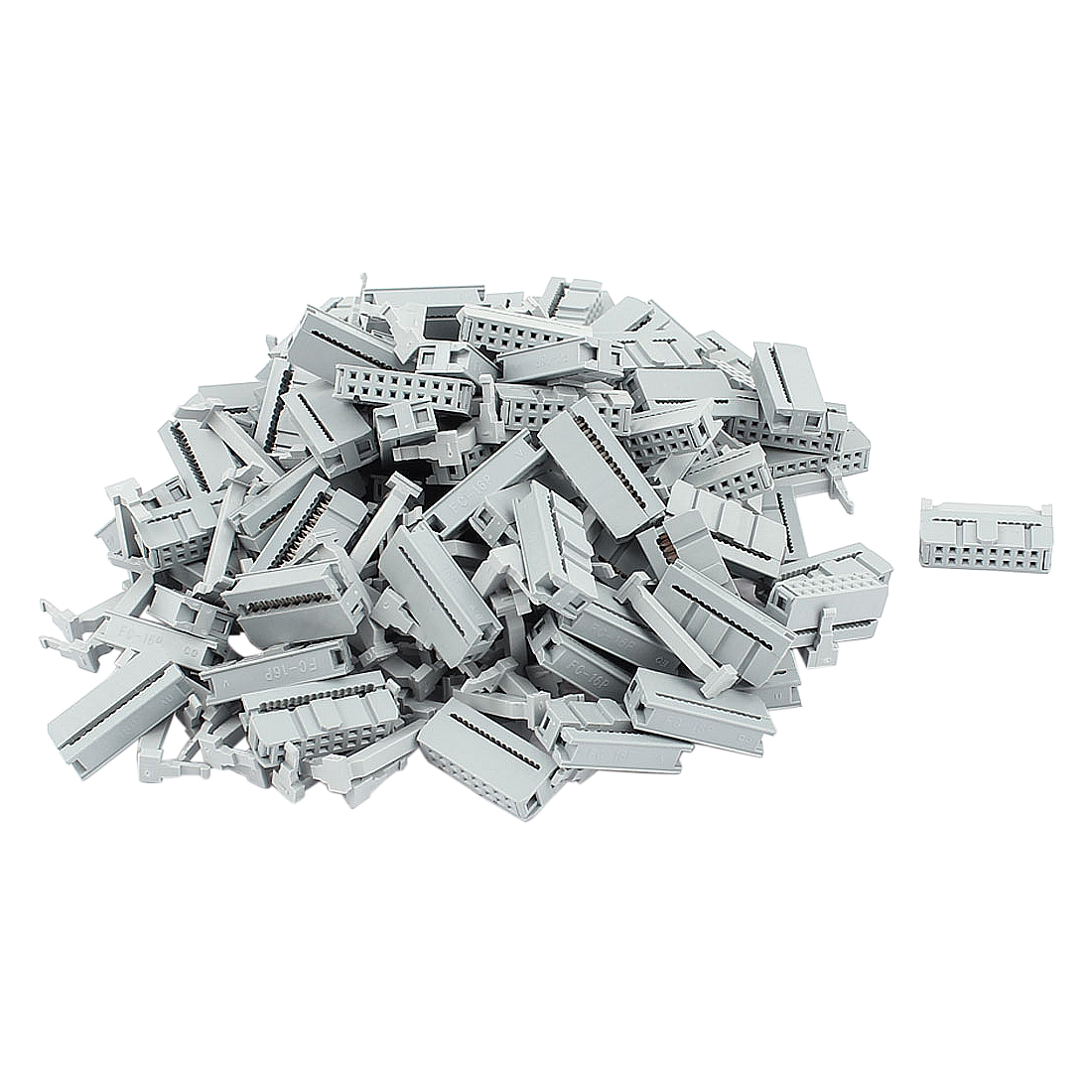 100 Pcs 2 Rows 16P FC-16P Flat Cable IDC Socket Connector w Strain Relief