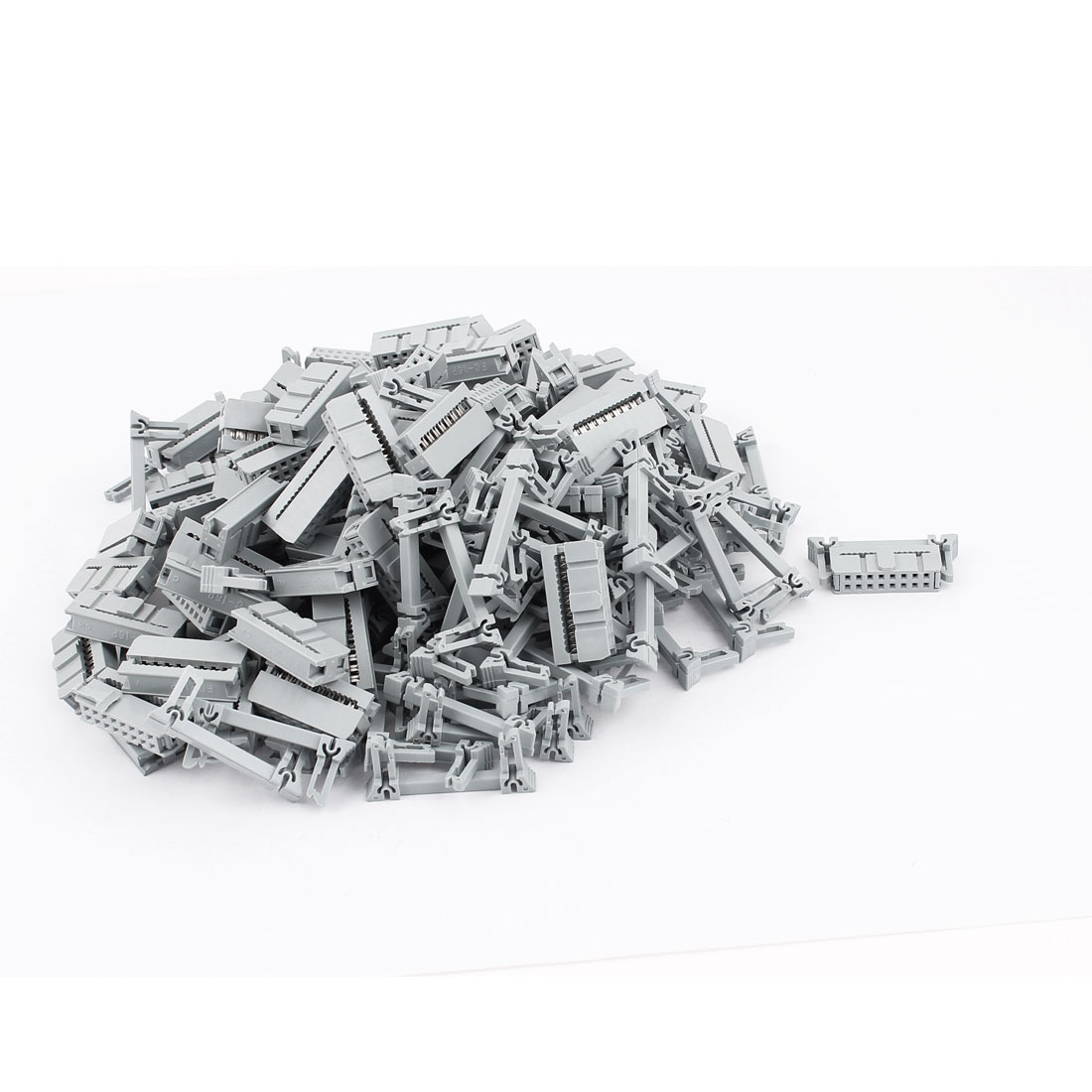 100 Pcs 2 Rows 16 Pins FC-16P IDC Socket Connector Male Header Light Gray